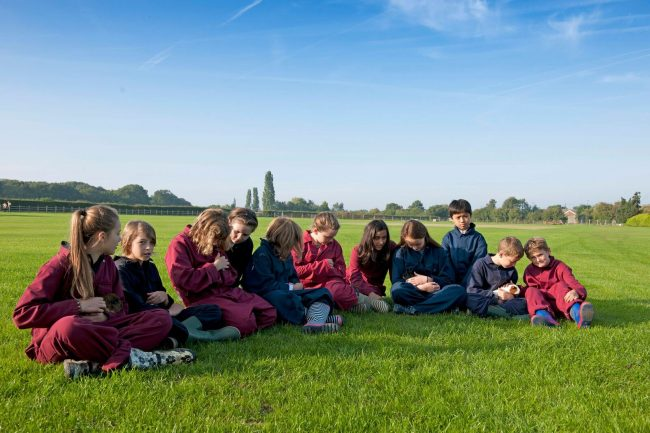 Private Prep school children on a field trip in the United Kingdom