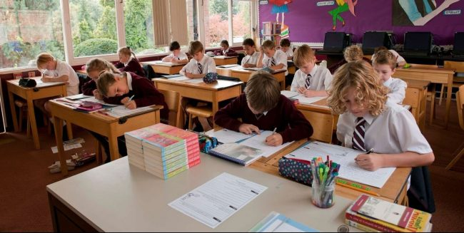 British prep school classroom with local and international students