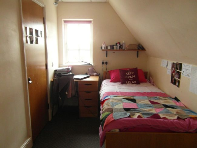Typical bedroom in a UK state boarding school