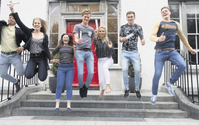 Irish high school students and exchange students celebrate their exam results in Ireland